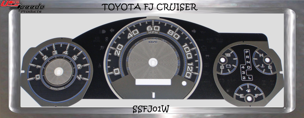 Toyota Fj 2007-2009 Cruiser Mph Auto Stainless Steel Gauge Face With White Numbers