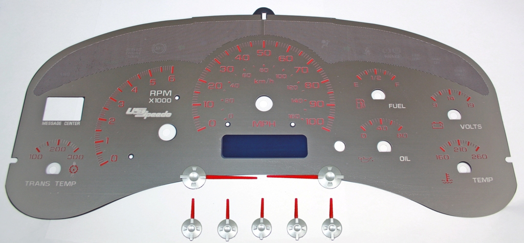 Chevrolet Silverado 1999-2002  100 Mph Trans Temp Stainless Steel Gauge Face With Red Numbers