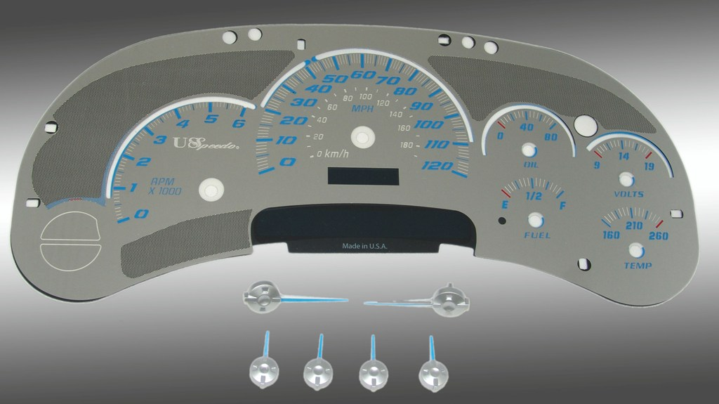 Chevrolet Silverado 2003-2005  120 Mph No Trans Stainless Steel Gauge Face With Blue Numbers