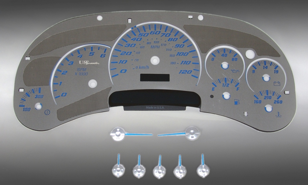 Chevrolet Silverado 2003-2005  120 Mph Trans Temp Stainless Steel Gauge Face With Blue Numbers