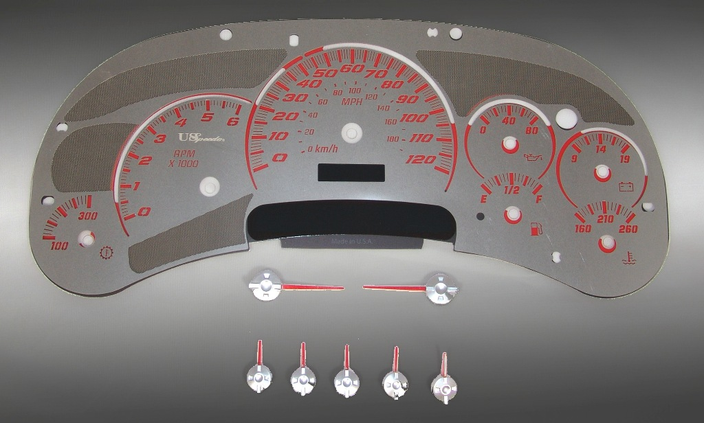 Gmc Sierra 2003-2005  120 Mph Trans Temp Stainless Steel Gauge Face With Red Numbers
