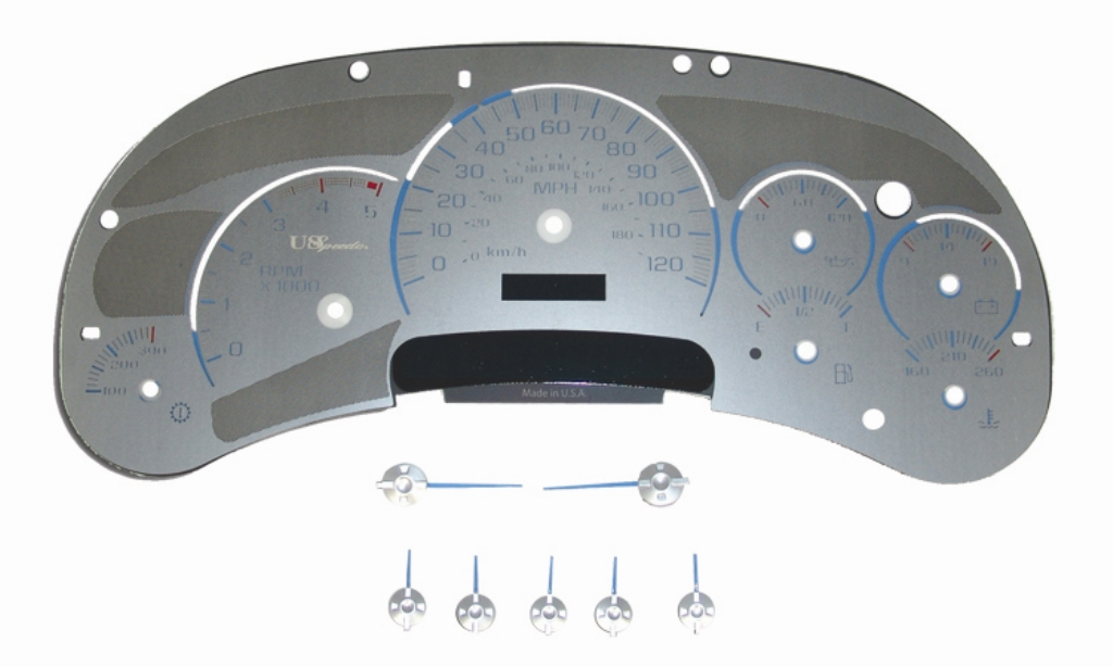 Gmc Sierra 2003-2005 Hd Diesel Stainless Steel Gauge Face With Blue Numbers