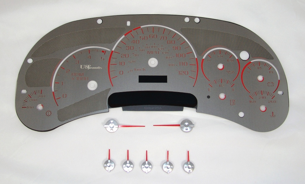 Chevrolet Silverado 2003-2005 Hd Diesel Stainless Steel Gauge Face With Red Numbers