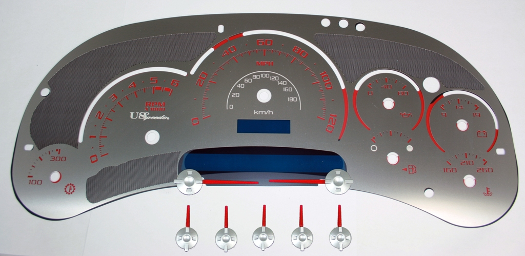 Cadillac Escalade 2003-2005  120 Mph Trans Temp Stainless Steel Gauge Face With Red Numbers