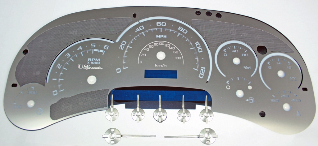 Gmc Sierra 2003-2005 Hd 120 Mph Trans Temp Stainless Steel Gauge Face With White Numbers