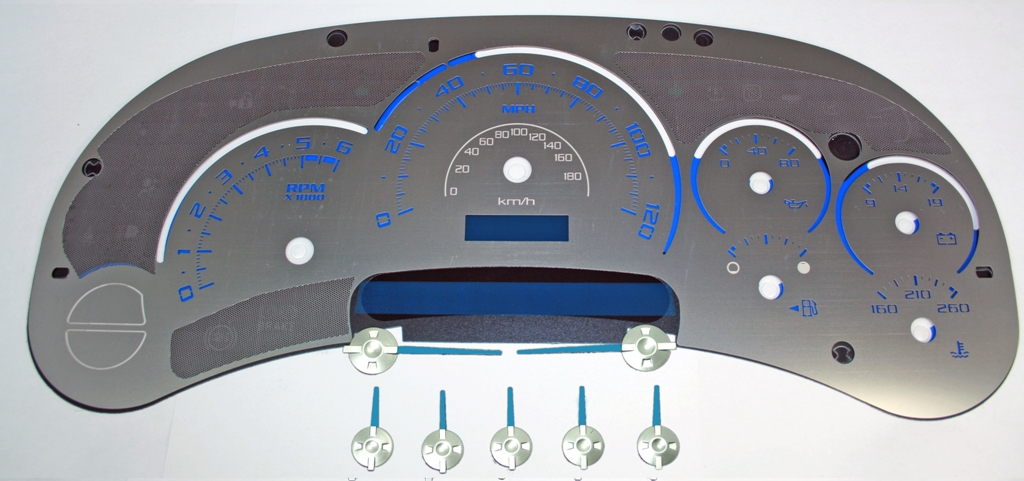 Chevrolet Tahoe 2003-2005  120 Mph No Trans Stainless Steel Gauge Face With Blue Numbers