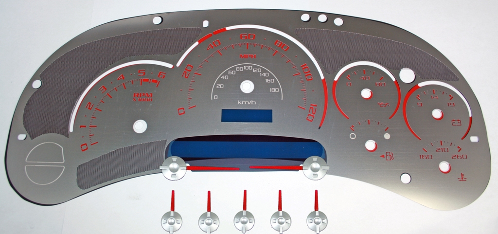 Gmc Sierra 2003-2005  120 Mph No Trans Stainless Steel Gauge Face With Red Numbers