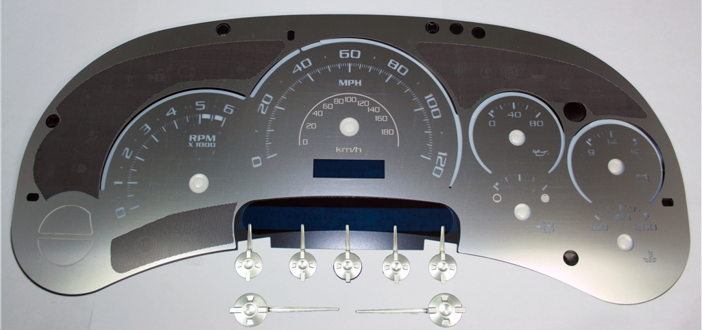 Chevrolet Silverado 2003-2005  120 Mph No Trans Stainless Steel Gauge Face With White Numbers