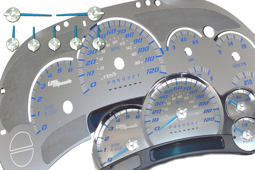 Gmc Sierra 2006-2007  120 Mph No Trans Stainless Steel Gauge Face With Blue Numbers