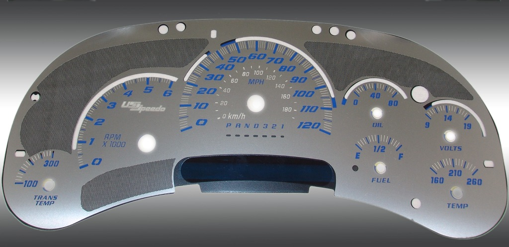 Gmc Yukon 2006-2007  120 Mph Trans Temp Stainless Steel Gauge Face With Blue Numbers