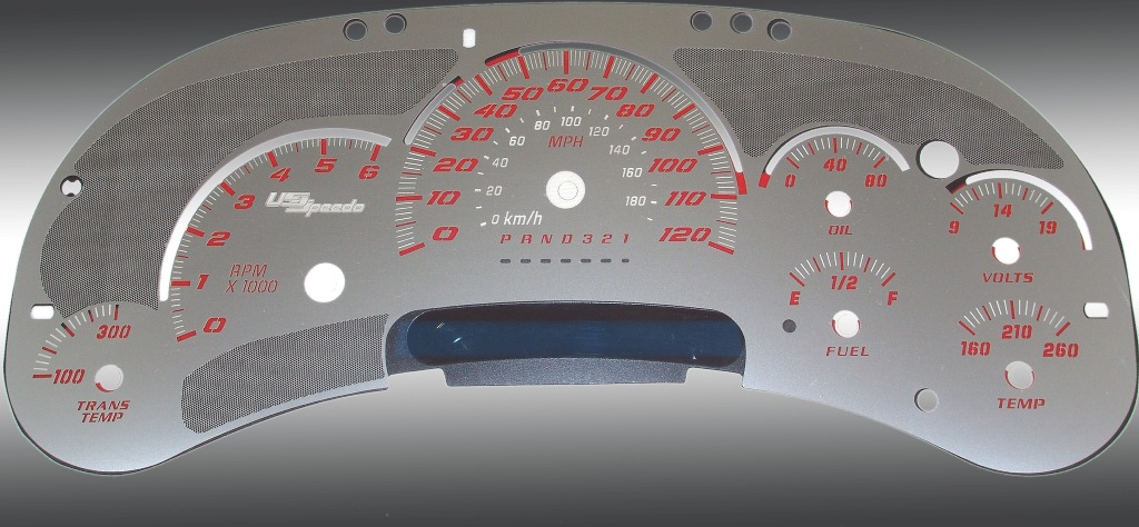 Gmc Sierra 2006-2007  120 Mph Trans Temp Stainless Steel Gauge Face With Red Numbers