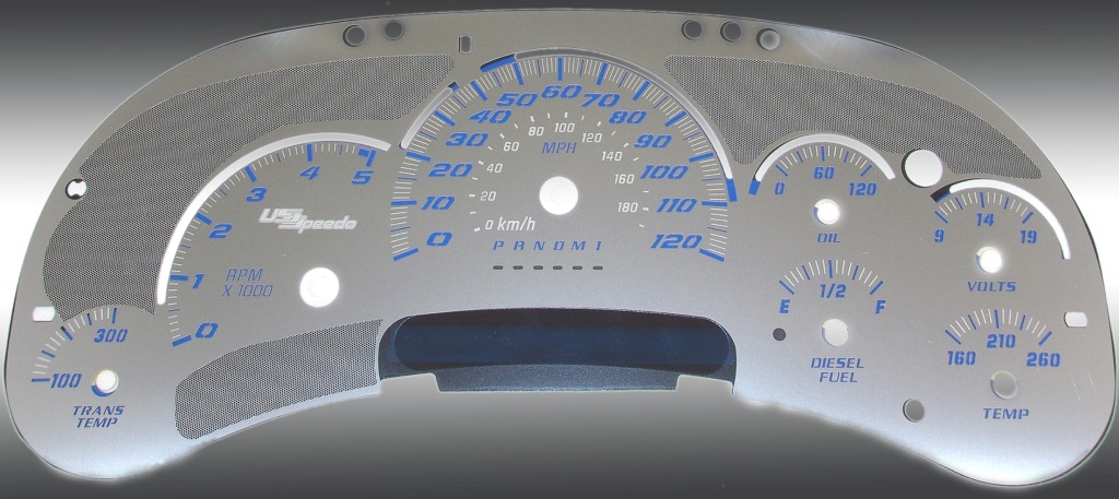 Gmc Sierra 2006-2007 Hd Diesel Stainless Steel Gauge Face With Blue Numbers