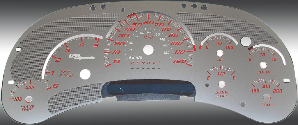 Gmc Sierra 2006-2007 Hd Diesel Stainless Steel Gauge Face With Red Numbers