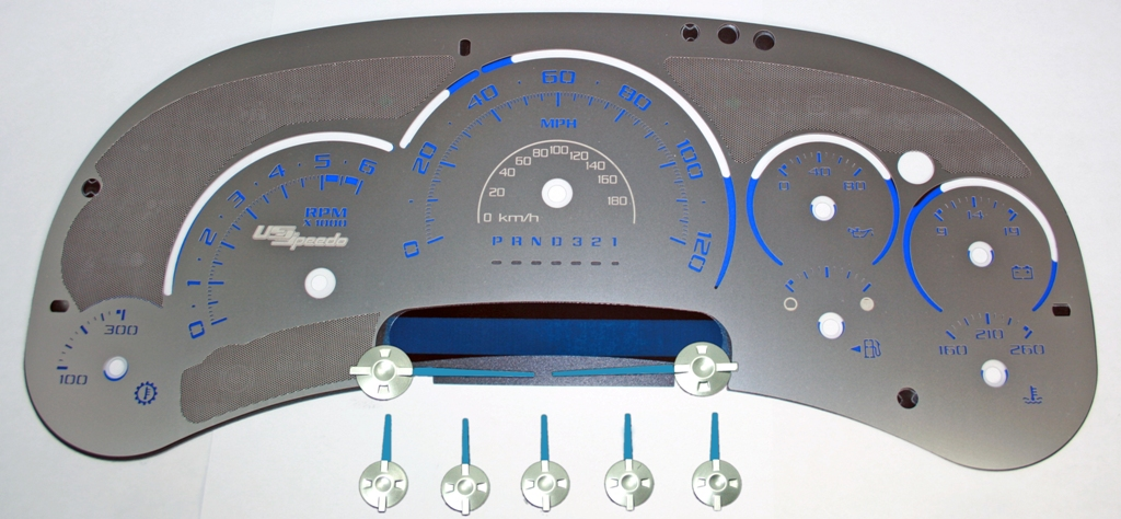 Cadillac Escalade 2006-2007  120 Mph Trans Temp Stainless Steel Gauge Face With Blue Numbers