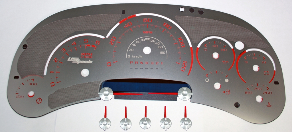 Cadillac Escalade 2006-2007  120 Mph Trans Temp Stainless Steel Gauge Face With Red Numbers