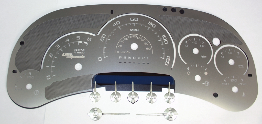 Cadillac Escalade 2006-2007  120 Mph Trans Temp Stainless Steel Gauge Face With White Numbers