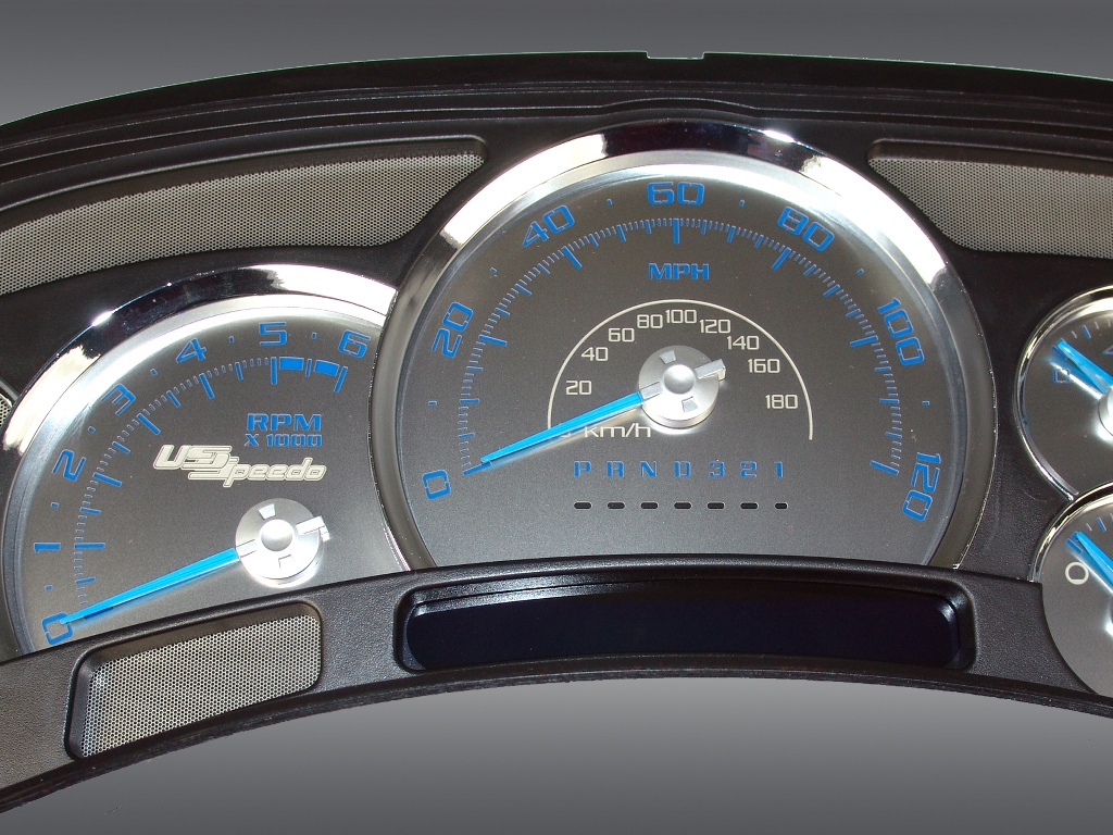 Chevrolet Silverado 2006-2007  120 Mph No Trans Stainless Steel Gauge Face With Blue Numbers