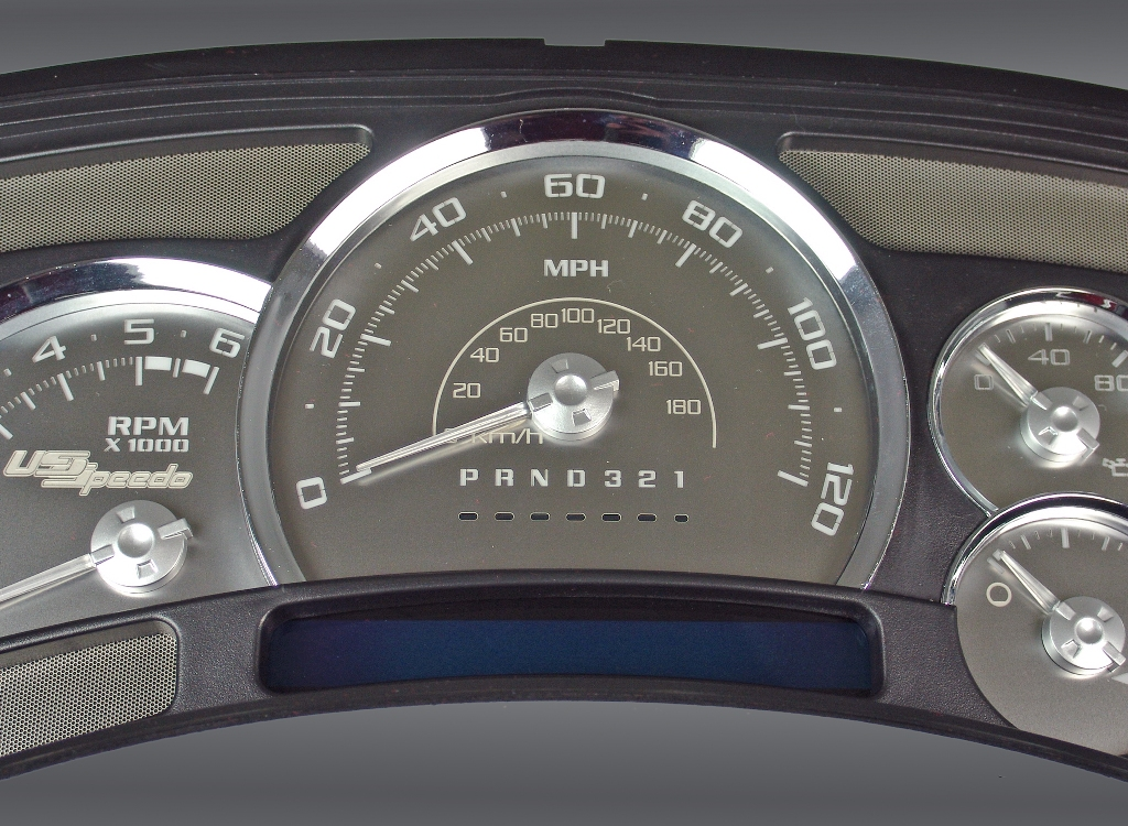 Chevrolet Silverado 2006-2007  120 Mph No Trans Stainless Steel Gauge Face With White Numbers