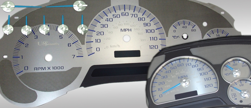 Chevrolet Trailblazer 2002-2005  120 Mph Stainless Steel Gauge Face With Blue Numbers