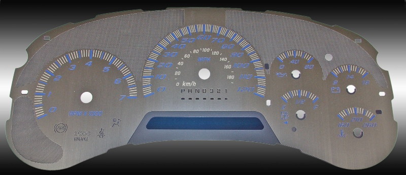 Chevrolet Trailblazer 2006-2009  120 Mph Stainless Steel Gauge Face With Blue Numbers