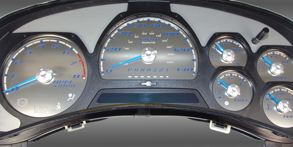 Chevrolet Trailblazer 2006-2009 Ss Only 140 Mph Stainless Steel Gauge Face With Blue Numbers