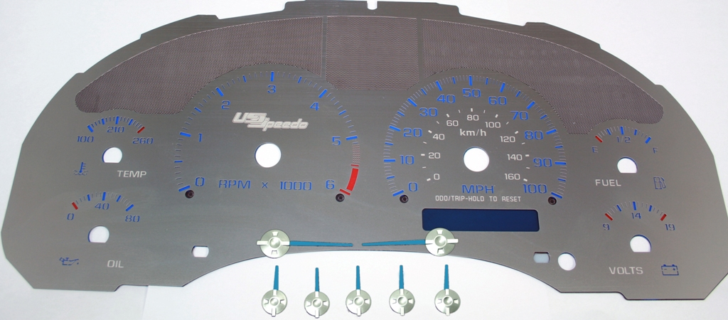 Gmc Envoy 1998-2002 Floor Shift 100 Mph 1 Window Stainless Steel Gauge Face With Blue Numbers