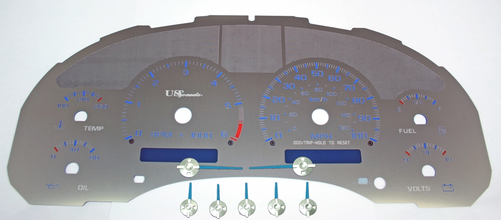 Gmc Envoy 1998-2002 Column Shift 100 Mph 2 Window Stainless Steel Gauge Face With Blue Numbers