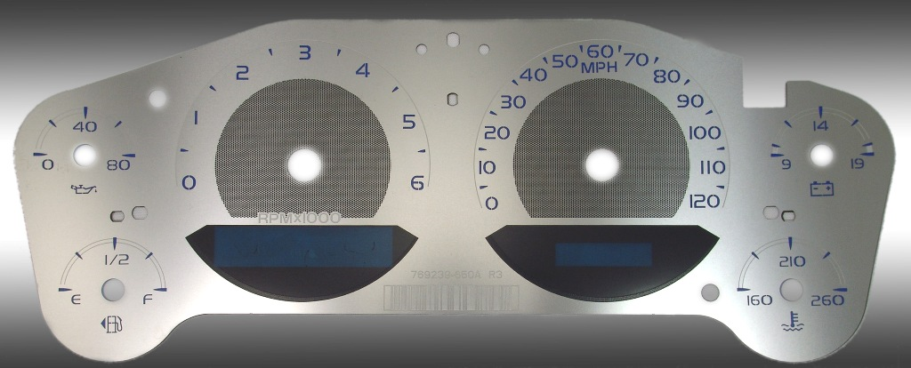 Gmc Yukon 2007-2009  120 Mph Gas Stainless Steel Gauge Face With Blue Numbers