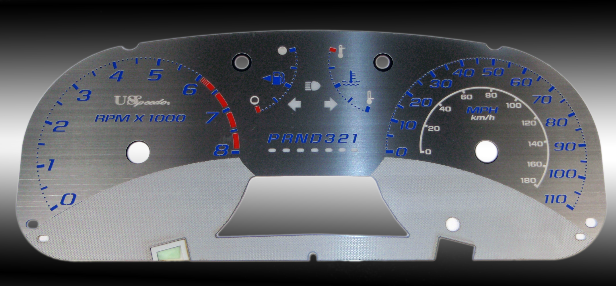 Gmc Canyon 2005-2009  Auto Stainless Steel Gauge Face With Blue Numbers