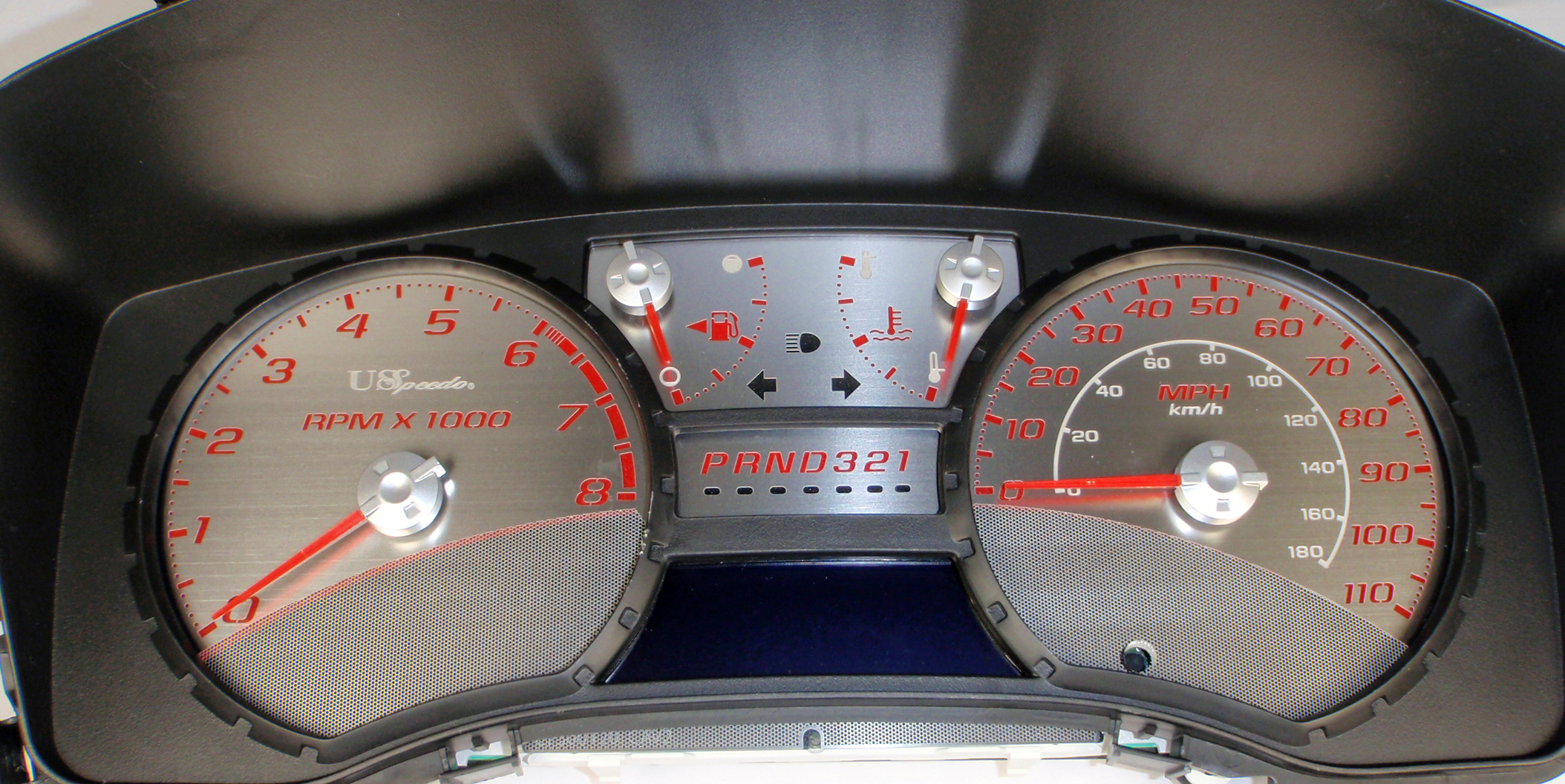 Gmc Canyon 2005-2009  Auto Stainless Steel Gauge Face With Red Numbers