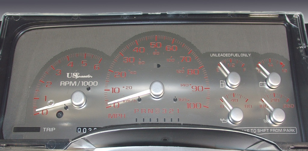 Gmc Sierra 1995-1999  100 Mph  Auto  White Needles Stainless Steel Gauge Face With Red Numbers