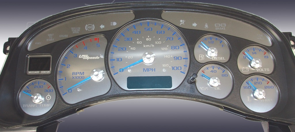 Chevrolet Silverado 1999-2002  100 Mph Diesel Auto Stainless Steel Gauge Face With Blue Numbers