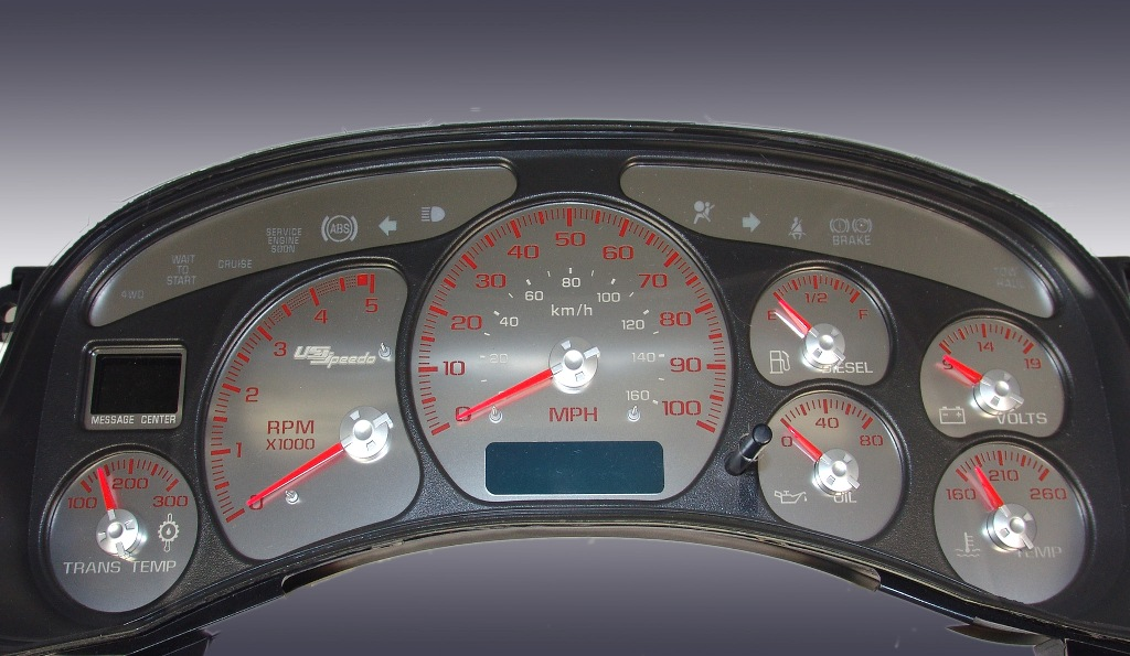 Chevrolet Silverado 1999-2002  100 Mph Diesel Auto Stainless Steel Gauge Face With Red Numbers