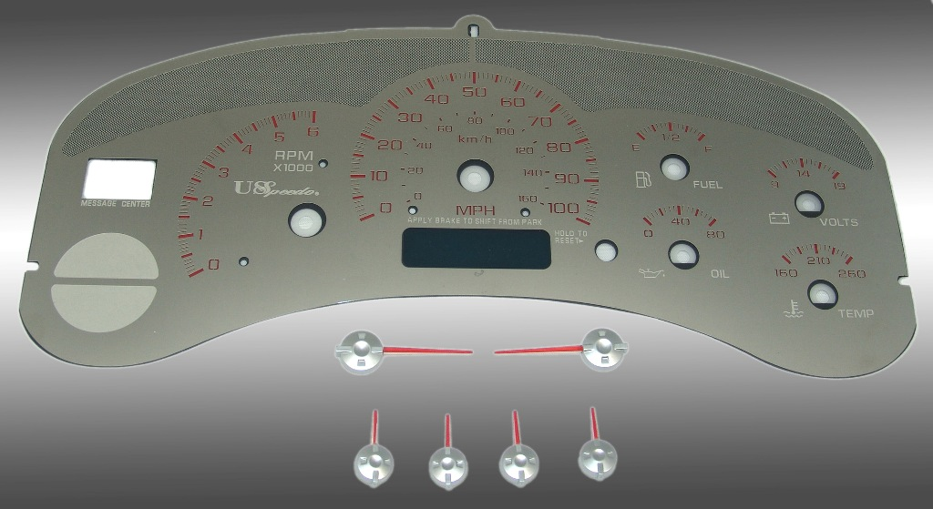 Chevrolet Silverado 1999-2002  100 Mph No Trans Stainless Steel Gauge Face With Red Numbers