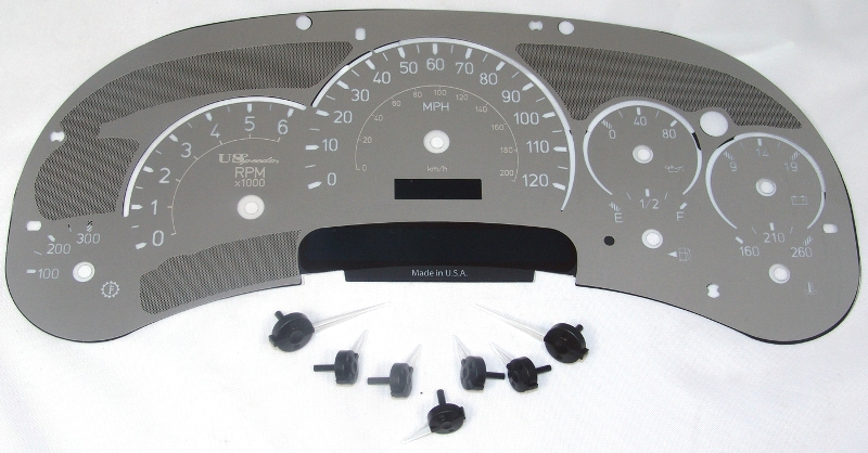 Hummer H2 2003-2005  120 Mph Trans Temp Stainless Steel Gauge Face With White Numbers