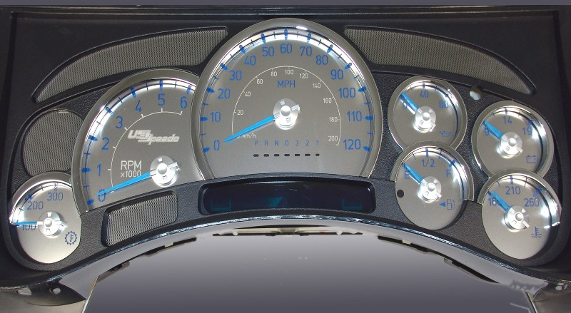 Hummer H2 2003-2005  120 Mph Trans Temp Stainless Steel Gauge Face With Blue Numbers