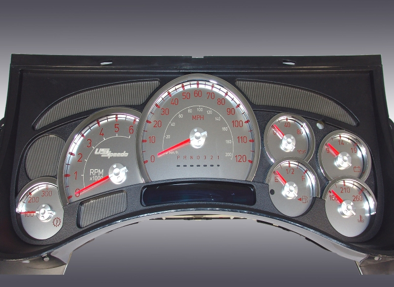 Hummer H2 2006-2007  120 Mph Trans Temp Stainless Steel Gauge Face With Red Numbers