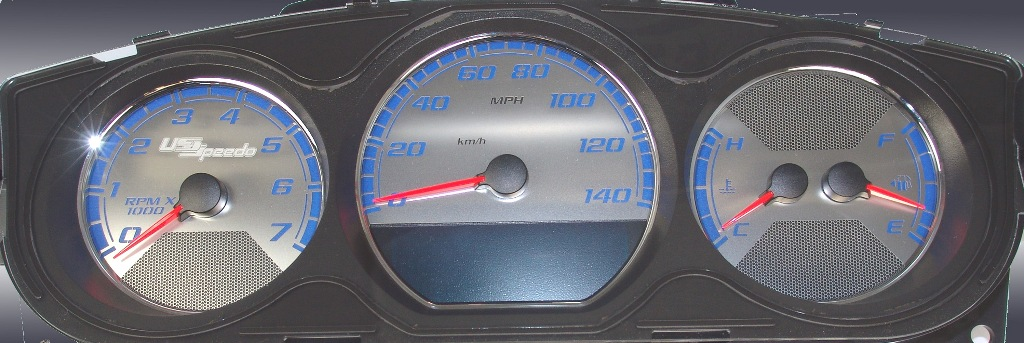 Chevrolet Monte Carlo 2006-2009  Mph Stainless Steel Gauge Face With Blue Numbers