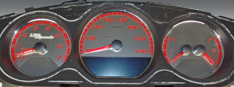 Chevrolet Monte Carlo 2006-2009  Mph Stainless Steel Gauge Face With Red Numbers