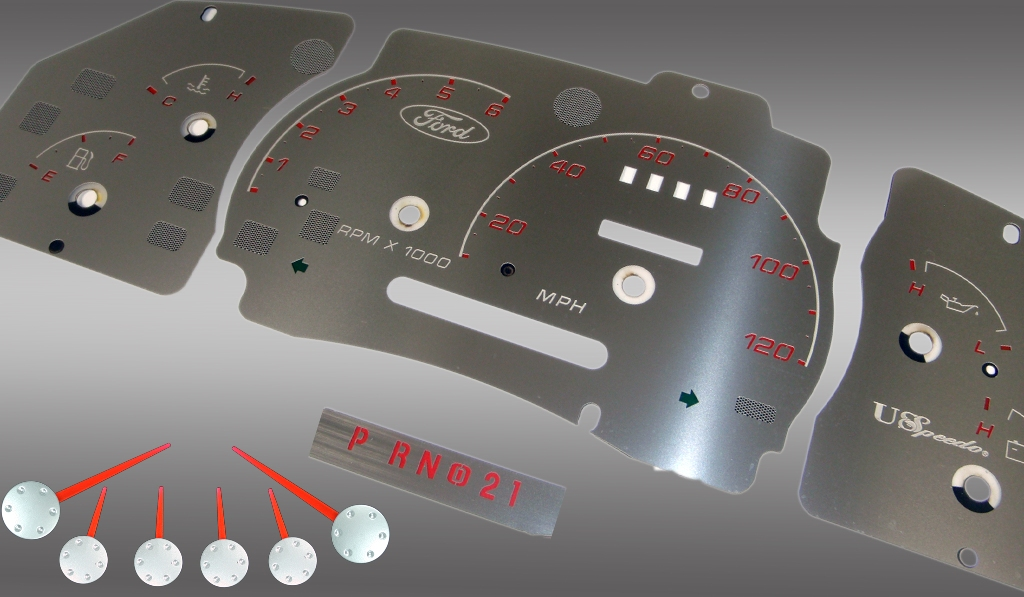 Ford Ranger 1998-2003 W/Tach Mph Stainless Steel Gauge Face With Red Numbers