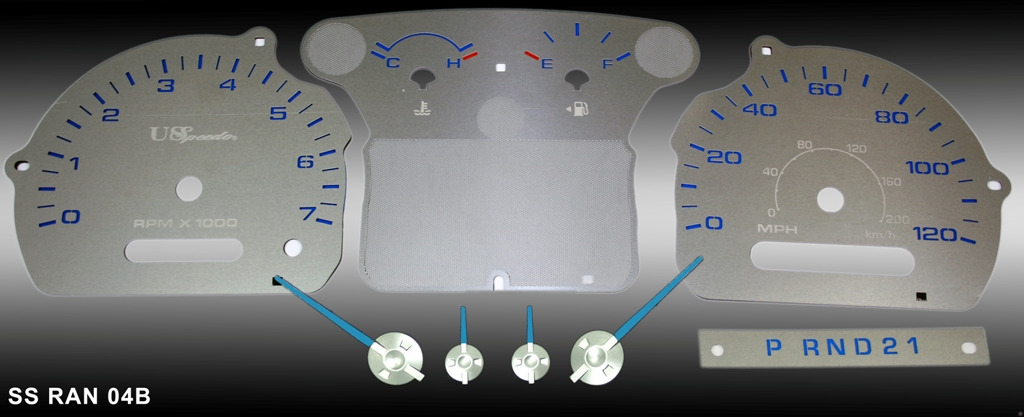 Ford Ranger 2004-2009  Mph, Tach Stainless Steel Gauge Face With Blue Numbers