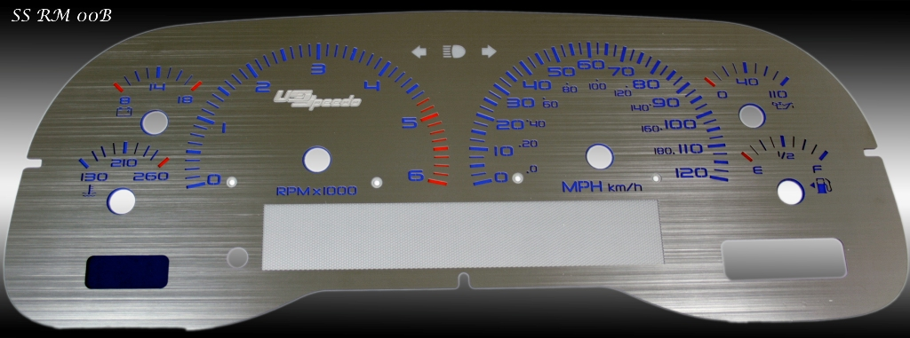 Dodge Ram 1998-2001 1500 Or 2500 Gas 6k Tach, Mph Stainless Steel Gauge Face With Blue Numbers