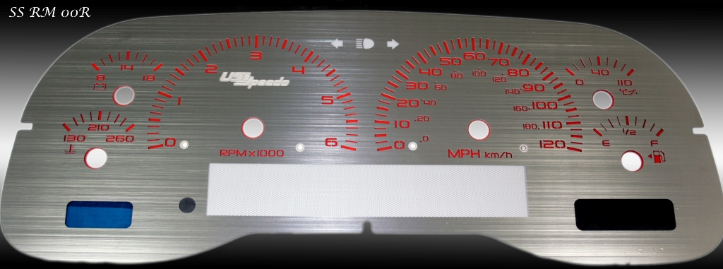 Dodge Ram 1998-2001 1500 Or 2500 Gas 6k Tach, Mph Stainless Steel Gauge Face With Red Numbers
