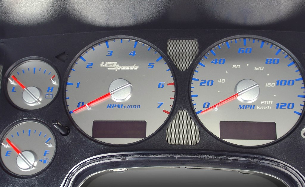 Dodge Ram 2002-2005 1500 Or 2500 Gas 7000 Rpm  120 Mph Stainless Steel Gauge Face With Blue Numbers