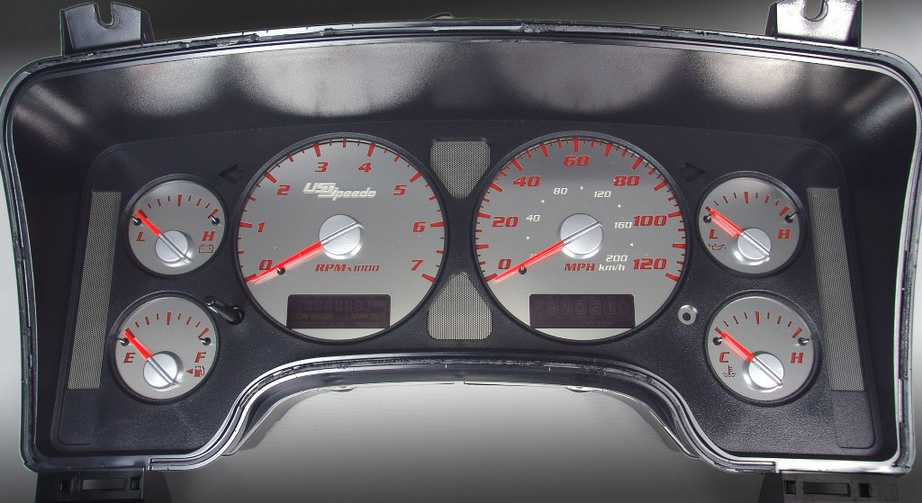 Dodge Ram 2002-2005 1500 Or 2500 Gas 7000 Rpm  120 Mph Stainless Steel Gauge Face With Red Numbers