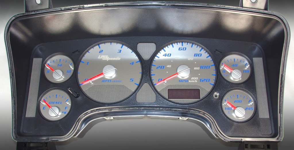 Dodge Ram 2006-2006  Diesel 5000 Rpm  120 Mph Stainless Steel Gauge Face With Blue Numbers