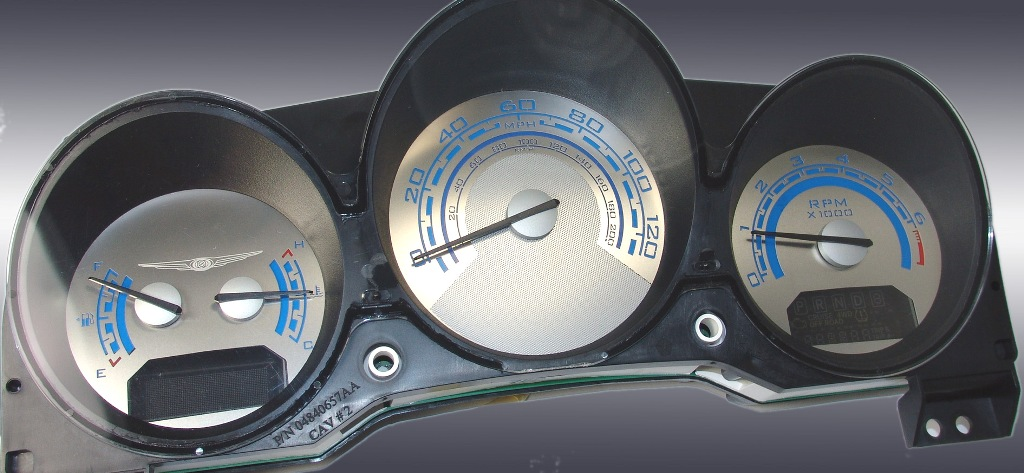 Chrysler Sebring Coupe 2007-2009  Mph All Models Stainless Steel Gauge Face With Blue Back