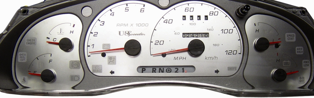 Ford Explorer 2001-2004 Sport Trac Mph Stainless Steel Gauge Face