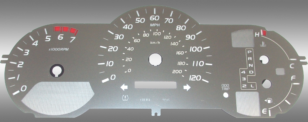Toyota Tacoma 2005-2009  7000 Rpm, 120 Mph Auto Stainless Steel Gauge Face With White Numbers