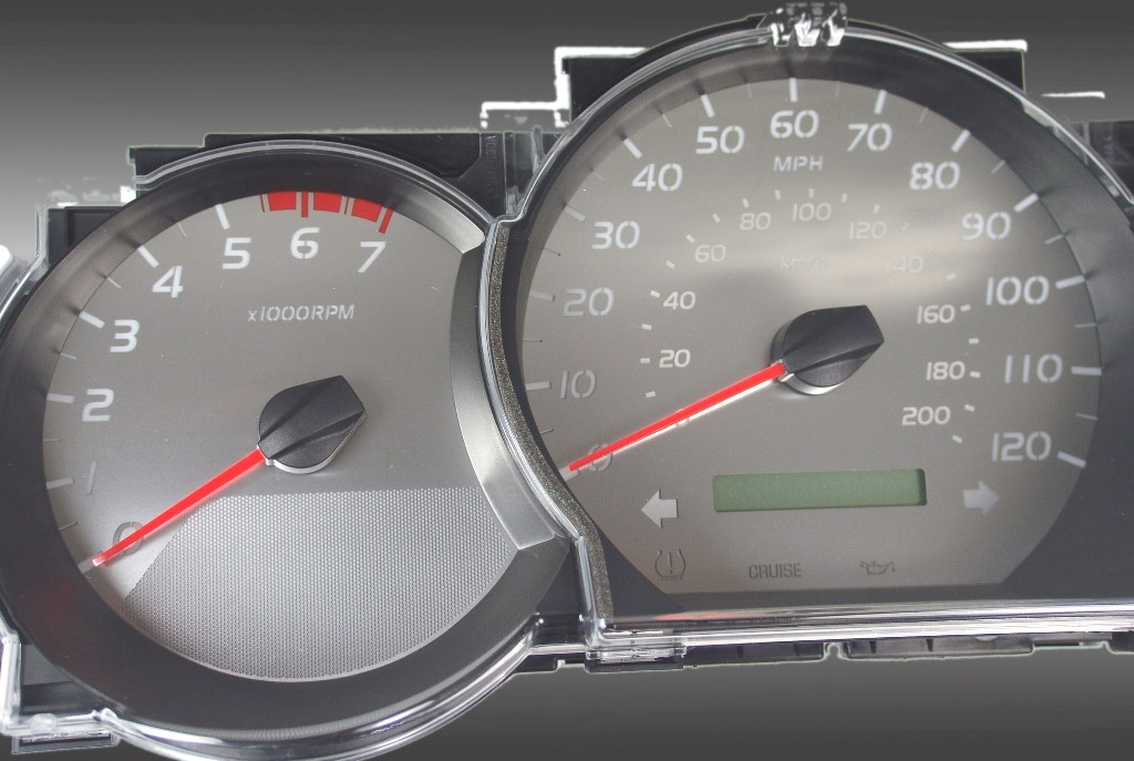 Toyota Tacoma 2005-2009  7000 Rpm, 120 Mph, Stick Stainless Steel Gauge Face With White Numbers